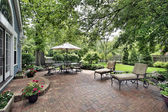 Brick patio of suburban home — Stock Photo