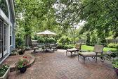 Brick patio of suburban home — Stock Photo