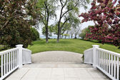 Patio with lake view — Stock Photo
