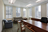 Corner office in downtown building — Stock Photo