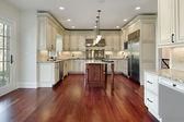 Kök med körsbär trä golv — Stockfoto