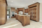Kitchen and island in new construction home — Stock Photo