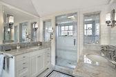 Master bath with windowed shower — Stock Photo