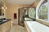Master bath with arched window — Stock Photo