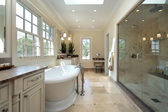Master bathroom in new construction home — Stock Photo