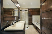 Master bath with wood paneling — Stock Photo