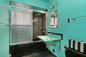 Master bath with green walls — Stock Photo