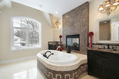 Master bath with marble tile tub — Stock Photo