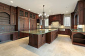Large kitchen in new construction home — Stock Photo