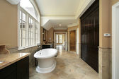 Master bath with large tub — Stock Photo