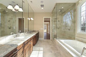 Master bath in new construction home — Stock Photo