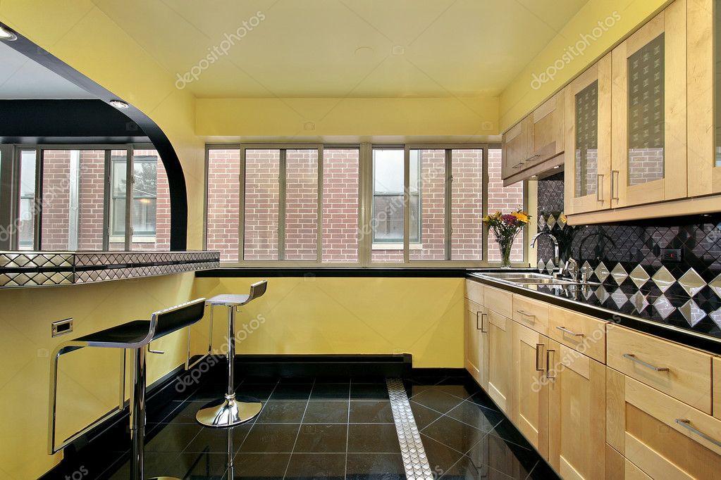 kitchen with yellow walls stock photo lmphot 8701548