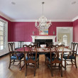 Stock Photo: Dining room with fireplace