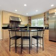 Stock Photo: Kitchen with island and stools