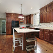 Kitchen with wood cabinets — Stock Photo