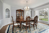 Dining room with picture window — Stock Photo