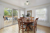 Dining room with view to deck — Stockfoto