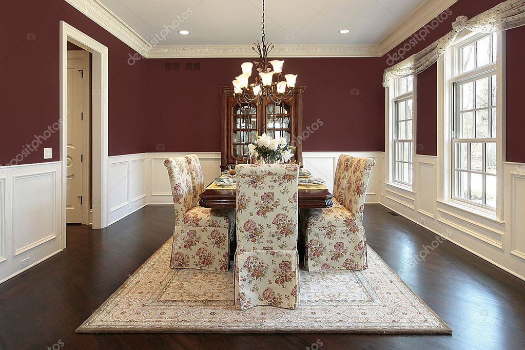Dining room with maroon walls stock photo lmphot 8710207 for Dining room ideas with red walls
