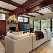 Stock Photo: Family room with wood beams