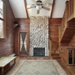 Stock Photo: Wood paneled family room