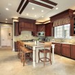 Large wood kitchen — Foto Stock
