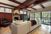 Family room with wood beams — Stock Photo