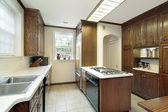 Kitchen with stove top island — Stock Photo