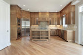 Wood cabinet kitchen — Stock Photo