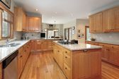 Large wood kitchen — Stock Photo