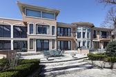 Stone patio of luxury home — Stock Photo