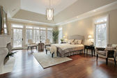 Master bedroom in new construction home — Stock Photo