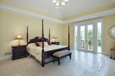 Master bedroom in new construction home — Stok fotoğraf