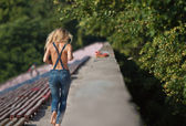 Jogging girl — Stock Photo