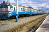 Train on the platform — Stock Photo
