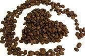Coração de grãos de café — Foto Stock