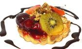 Bolo com frutas, isolado — Foto Stock