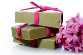 Soap and hyacinth — Stock Photo