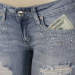 Stock Photo: Front jeans pocket with money inside