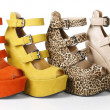 Multicolored wedges shoes - 图库照片
