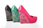 Crystal Encrusted Wedges Shoes — Stock Photo