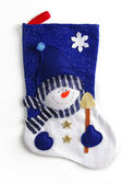Blue christmas sock with snowman — Stock Photo