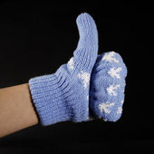 Hand in blue mittens show gesture ok — Stock Photo