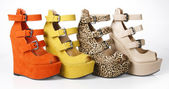 Multicolored wedges shoes — Стоковое фото