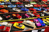 Parking of colorful small model cars — Stock Photo