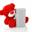 Stock Photo: Red teddy bear and jeweled clutch bag