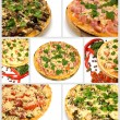Collage pizza - Stock Photo