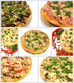 Collage pizza — Stock Photo