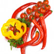 Peppers , cherry tomatoes and parsley — Stock Photo