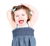 "Cute toddler girl shouting ""hooray!"" — Stock Photo"