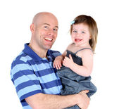 Handsome father with pretty daughter sharing a smile — Stock Photo